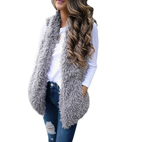 Price comparison product image Vest Waistcoat, LITETAO Women Fashion Faux Fur Casual Sleeveless Pocket Warm Coat (M, Gray)