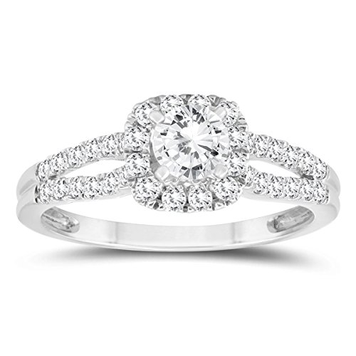 1 Carat TW Diamond Halo Split Shank Engagement Ring in 10K White Gold -