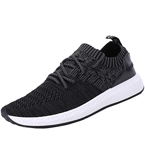 ROMENSI Men's Knit Lightweight Running Shoes Soft Sole Casual Athletic Tennis Walking Sneakers Black US11 (Woven Men Shoe)