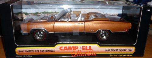 Models Scale Campbell (#29083 Ertl Campbell Colletibles Club Mopar Cruisn' 1999 '69 Plymouth GTX Convertible 1/18 Scale Diecast)