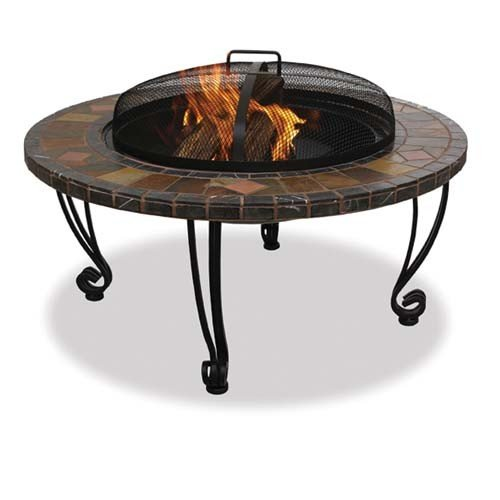 Wood Burning Fire Pit With Slate Ledge And Copper Accents - Ledge Outdoor Fire Pit