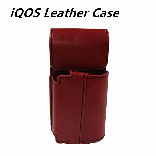 SANMEIT iQOS Electronic Cigarette Wallet Case Protective Holder Cigar Cover PU Leather Carrying Case Box with Card Holder for iQOS 2.4 / 2.4 Plus (Red)