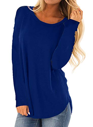 MISSLOOK Women's Long Sleeve Shirts Basic Tee Tops High Low Loose Crew Neck Casual Tunic - Blue XXL