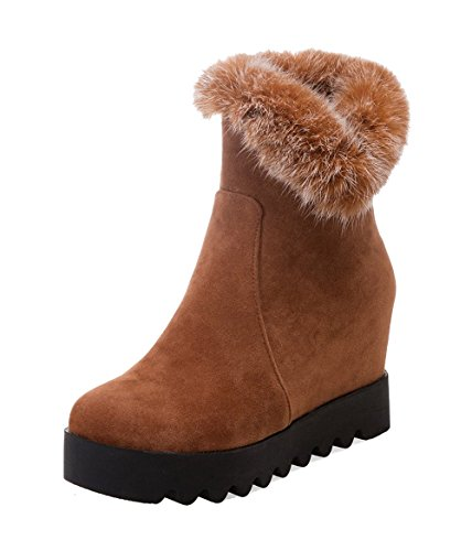 Boots Top Toe Kitten Brown AgeeMi Zipper Shoes Round Women's Suede Closed Mid Heels gx4HnPqF