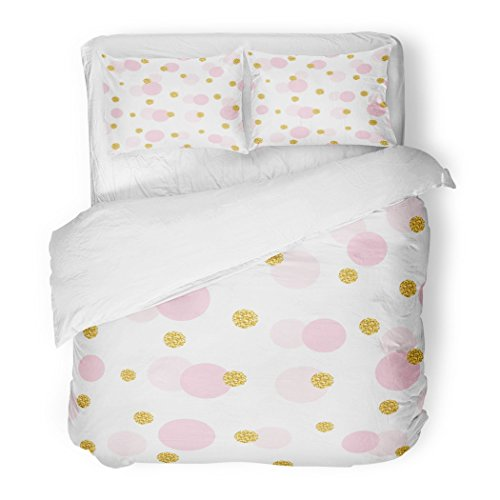 - SanChic Duvet Cover Set Girly Confetti Polka Dot Golden and Pastel Pink Trendy Colors for Birthday Valentine Design Gold Decorative Bedding Set with 2 Pillow Shams Full/Queen Size
