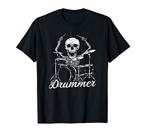 - Cool Percussion Drum Sticks Skeleton Drummer Image T-shirt