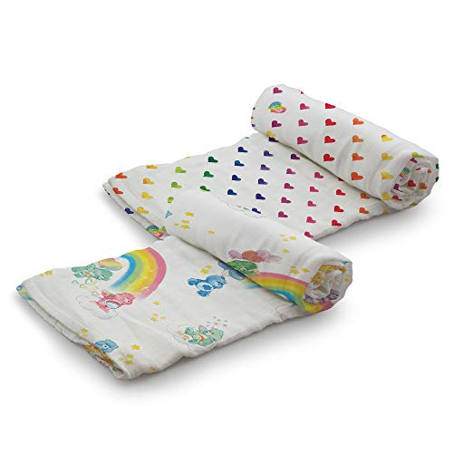 Care Bears for Kanga Care Serene Swaddles - Premium Bamboo Swaddle Blankets (2pk) : Watercolor Hearts + Rainbow