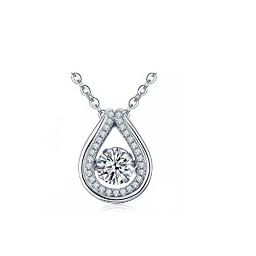 Women s Dancing Diamond Sterling Silver 6mm Center Stone 1.77ct Cubic Zirconia Pendant with 18 Chain