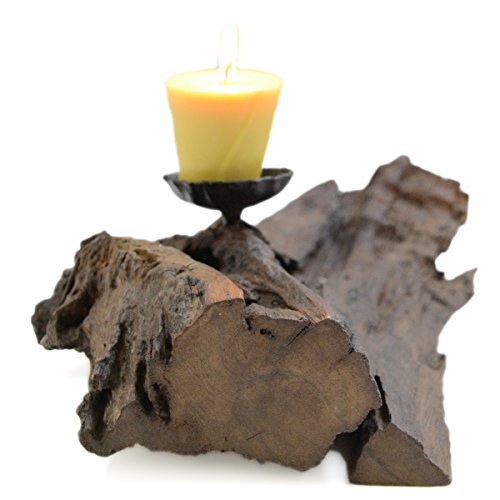 CinMin Large Rustic Driftwood Tealight Holder, freeform (Candle Burmese Wood)