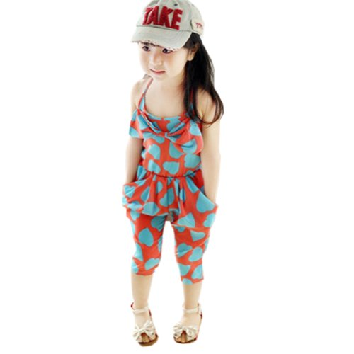Weixinbuy Girls Jumpsuits Love Print Chiffon Romper Overall Cropped Pants Shorts