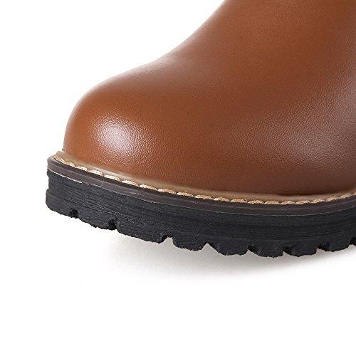 AllhqFashion Damen Rund Zehe Niedriger Absatz Weiches Material Hoch-Spitze Rein Stiefel Braun