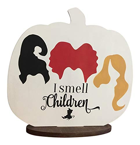 - Mary B Decorative Art Halloween Fun I Smell Chlldren Hand Painted Pumpkin Table or Shelf Decor Wood