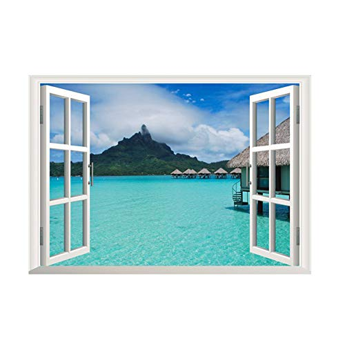 DierCosy Removable Beach sea 3D Window View Landscape Wall Sticker Decorative Applique by Daily 3D Fake Window Island Style Ocean Background Removable Mural Wall Sticker for Living Room DIY Tools ()