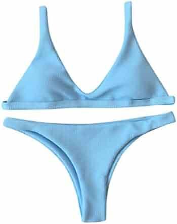 Dayupo Female Sling Backless Swimsuit, New Fashion Solid Triangle Split Body Swimsuit Push-up Padded Bra Low Waist Bikini Set