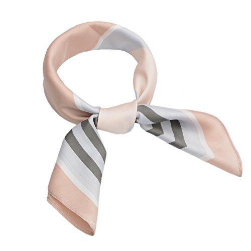 LITOON Women Square Kerchief, Multi-function Scarf as Neckerchief,Handkerchief,Fashion Accessories (23.6X23.6 inch) (Grey/Pink) ()