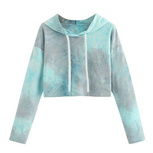 Hoodie Womens Sweatshirt Long Dye Morwind Tie Blouse Drawstring Pullover Casual Green Sleeve 7gwqa