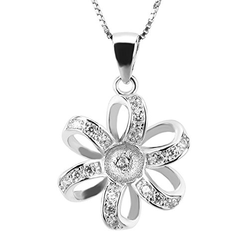 - NY Jewelry 925 Sterling Silver Flower Pendants for Pearl, Pearl Pendant Necklace Fitting for Women and Girls