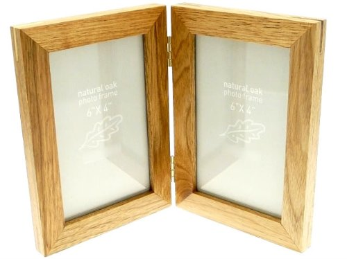 Natural Oak Wooden 2 Picture Double Photo Frame - Hold 2 Photos 6 x 4 inches
