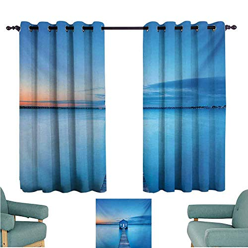 - DONEECKL Exquisite Curtain Landscape Sunrise Over Water Lakehouse Cabin Boardwalk Sun Rays Clouds Horizon Nature Thermal Insulated Tie Up Curtain W55 xL39 Blue Orange Gray