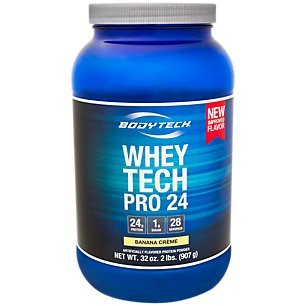 Banana Pro Whey - BodyTech Whey Tech Pro 24 Protein Powder Protein Enzyme Blend with BCAA's to Fuel Muscle Growth Recovery, Ideal for PostWorkout Muscle Building Banana Crème (2 Pound)