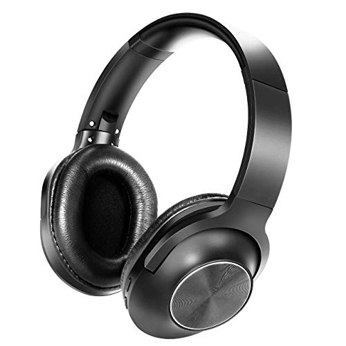 TDYY Bluetooth Headphones Over Ear HiFi Wireless Headset V4.2 Noice Cancelling Deep Bass Sport Earphone 20H+ Playing Time for Travel Running Work TV PC Phones-Black