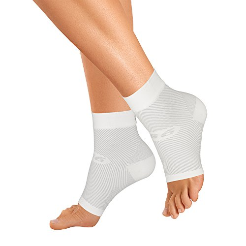 OrthoSleeve FS6 Compression Foot Sleeve (Pair), White, Small