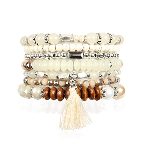 RIAH FASHION Bohemian Multi-Layer Sparkly Crystal Bead Statement Bracelet - Versatile Stretch Strand Delicate Stackable Cuff Bangle Set Tassel Charm (Boho Wood Mix - Natural Ivory)