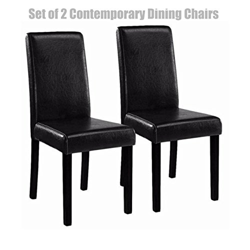 Classic Contemporary Design Dining Chairs Durable Half PU Leather Sturdy Wooden Frame Comfortable High Density Padded Cushion Home Office Furniture - Black Set of 2 #1264