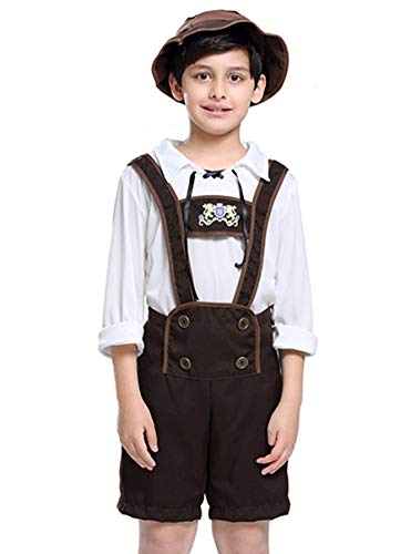 COSLAND Kids Boys' Lederhosen Costume Oktoberfest Uniform Bavarian Outfit (Brown, Medium)