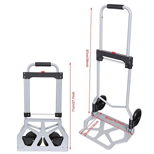 Rendio 220lbs Portable Heavy Duty Folding Hand Truck Luggage Cart Dolly with 2 Wheels-Black for Travel, Shopping Or Industrial