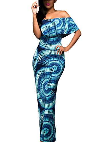 Happy Sailed Women African Print Off Shoulder Maxi Dress, Blue, X-Large (Best African Fashion Dresses)