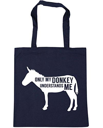 HippoWarehouse solo My Donkey entiende me Tote Compras Bolsa de playa 42cm x38cm, 10litros azul marino