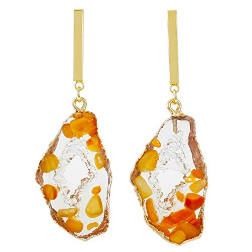Dangle Drop Earrings Floating Gemstones Druzy-Look (Select Color) (Orange)