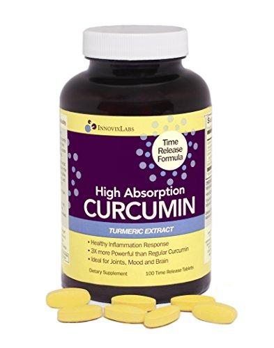 Extrait d'absorption élevée CURCUMINE de curcuma (par InnovixLabs). 100 comprimés à libération Temps. Award-Winning curcumine C3 Reduct + curcumine complexe C3 + BioPerine. 3X plus puissant que extraits de curcumine réguliers.