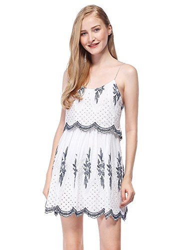 Alisa Pan Womens Round Neck Short Embroidered Boho Hippie Dress 8 US White