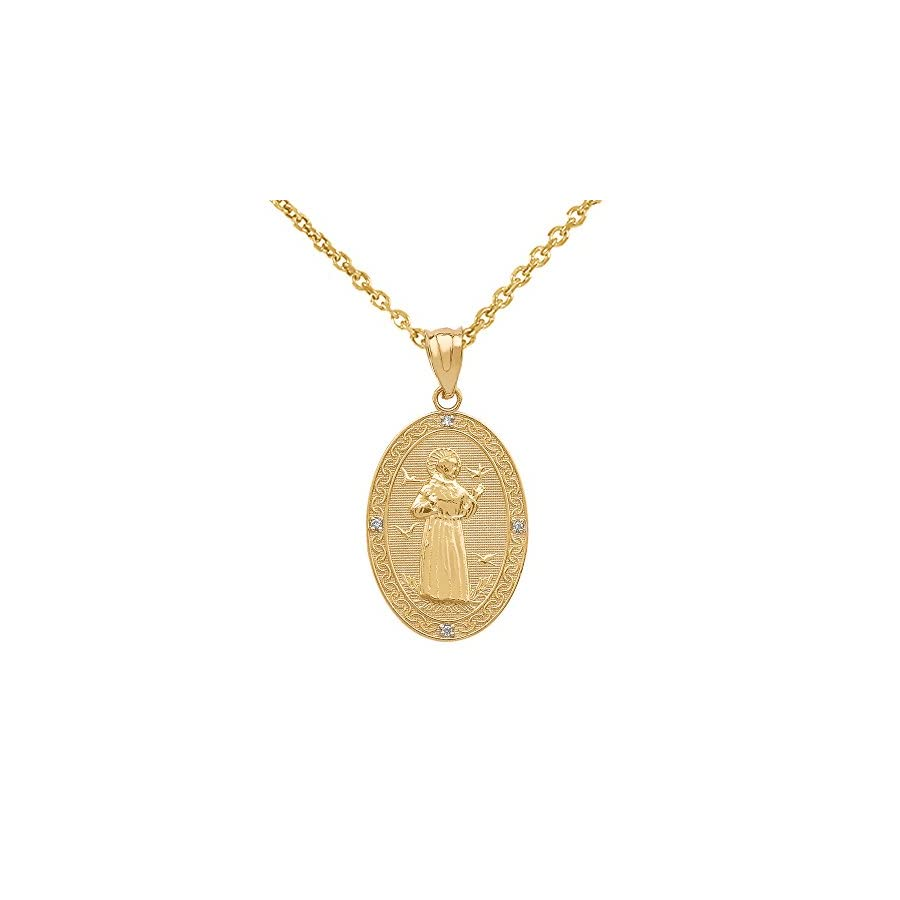 10k Gold Saint Francis Of Assisi Diamond Oval Medal Charm Necklace (Small)