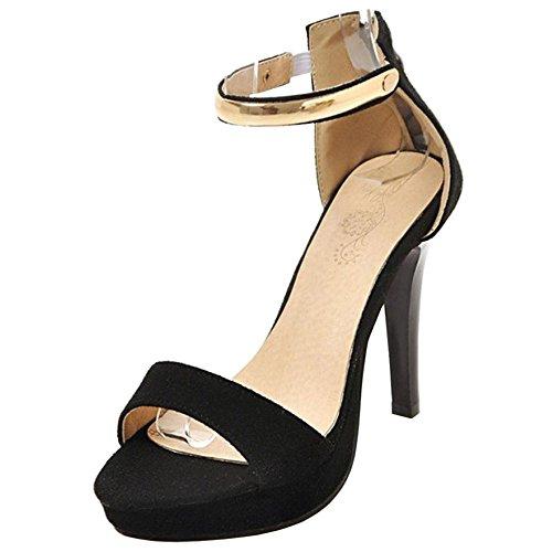 TAOFFEN Women High Heel Sandals Shoes Black CiMapl94