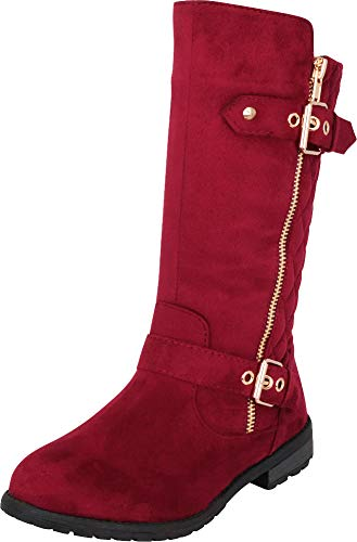 (Cambridge Select Girls' Quilted Strappy Buckle Mid-Calf Riding Boot (Toddler/Little Kid/Big Kid),2 M US Little Kid,Burgundy)