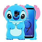 Blue Stitch Case for Samsung Galaxy S9,3D Cartoon Animal Cute Soft Silicone Rubber Protective Kawaii Character Cover,Animated Funny Cool Skin Fun Cases Shell for Kids Child Teens Girls Guys(Galaxy S9)