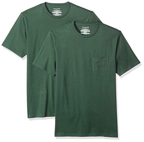 Amazon Essentials Men's 2-Pack Slim-Fit Short-Sleeve Crewneck Pocket T-Shirt, Dark Green, Large 100 Cotton Essential T-shirt