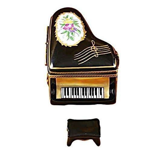 French Hand Painted Floral Bench - GRAND PIANO FLORAL WITH PORCELAIN BENCH - LIMOGES BOX AUTHENTIC PORCELAIN FIGURINE FROM FRANCE
