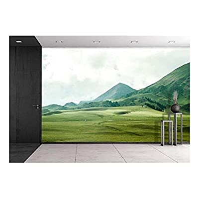 Landscape with Mountain and Grass - Removable Wall Mural | Self-Adhesive Large Wallpaper - 100x144 inches