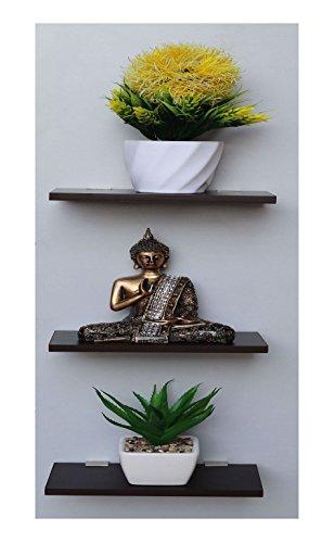 Madhuran Display Wall Decor Shelf Wenge Set of 3 / 12X20 cm Wooden Shelves Rack