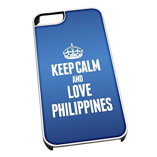 Bianco Cover per iPhone 5/5S 2263Blu Keep Calm And Love Filippine