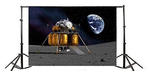 (Yeele 9x6ft Lunar Probe Photo Backdrops Moon Surface Exploration Moon Landing Background for Photography Vinyl Science Universe Probes Baby Girls Student Portraits Video Photo Shoot Studio Props)