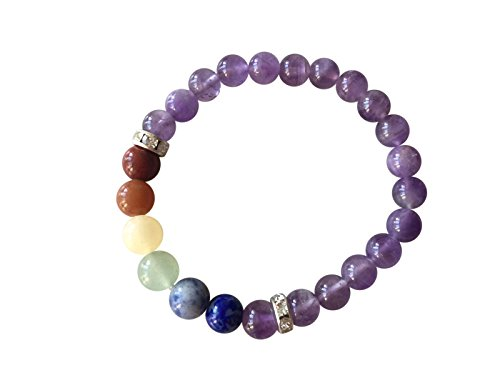 'Body Mind and Soul' Genuine Amethyst Gemstone Chakra Bead Buddha Bracelet ~ Natural Stones Ethically Sourced from Western Hills of India ~ Handmade Jewellery in Gift Box … (Chakra Bracelet)