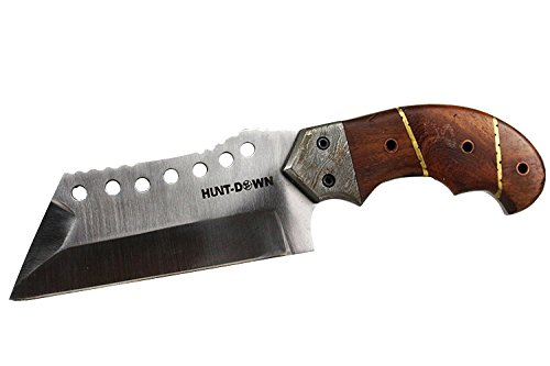 9-Huntdown-Full-Tang-Hunting-Knife-with-Brown-Wood-Handle-and-Leather-Sheath
