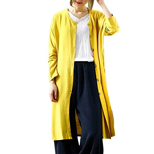 GOVOW Long Cardigan Sweaters for Women Casual Winter Open Front Solid Button Blazer Coat(US:6/CN:M,Yellow)