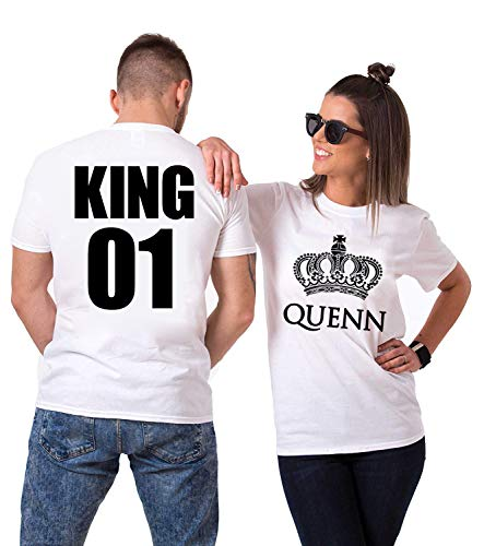 King Queen Shirts for Couples Matching Couple Set His & Hers T-Shirts (Men M/Women L) by picontshirt