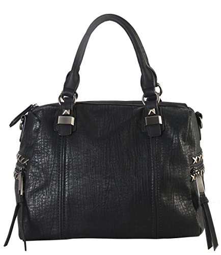 [Diophy Soft PU Leather Tote Accented with Studded Décor and Zippered Pocket on Both Side Womens Purse Handbag OB-3729] (Sale On Purses)